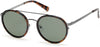 Kenneth Cole New York,Kenneth Cole Reaction KC7204 Round Sunglasses 52R-52R - Dark Havana / Green Polarized