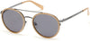 Kenneth Cole New York,Kenneth Cole Reaction KC7204 Round Sunglasses 57A-57A - Shiny Beige / Smoke