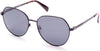 Kenneth Cole New York,Kenneth Cole Reaction KC7230 Round Sunglasses 02D-02D - Matte Black / Smoke Polarized Lenses