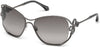 Roberto Cavalli RC1074 Lajatico Cat Sunglasses 12B-12B - Shiny Gunmetal, Transp. Dark Grey, Black Crystals/ã' Gradient Smoke