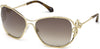 Roberto Cavalli RC1074 Lajatico Cat Sunglasses 32G-32G - Shiny Light Gold, Havana, Golden Crystals/ Gr. Brown W Silver Flash