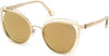 Roberto Cavalli RC1095 Montieri Cat Sunglasses 32G-32G - Shiny Pale Gold, Shiny Transp. Nude/ Smoke Gold Mirrored