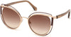 Roberto Cavalli RC1095 Montieri Cat Sunglasses 32T-32T - Shiny Rose Gold W. Bordeaux Enamel,  Rose Gold, Transp. Wine/ Gr Brown