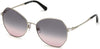 Swarovski SK0266 Geometric Sunglasses 16B-16B - Shiny Palladium / Gradient Smoke Lenses