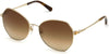 Swarovski SK0266 Geometric Sunglasses 32G-32G - Gold / Brown Mirror Lenses