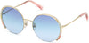 Swarovski SK0280-H Round Sunglasses 32W-32W - Gold / Gradient Blue Lenses
