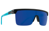 SPY Flynn 5050 Sunglasses  Happy Gray Green with Blue Spectra Mirror Soft Matte Black Translucent Blue  134-00-140