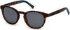 Timberland TB9128 Round Sunglasses 52D-52D - Rubberized Tortoise Frame & Temples With Blue Rubber / Blue Lenses