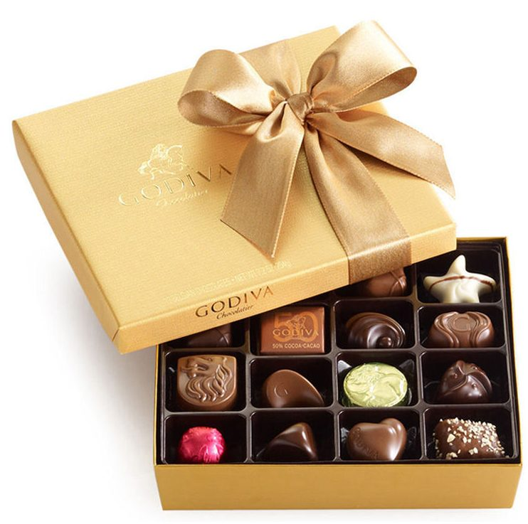 2016 Holiday Gifts at Scotts Flowers NYC godiva chocolate assorted box gold gift shop