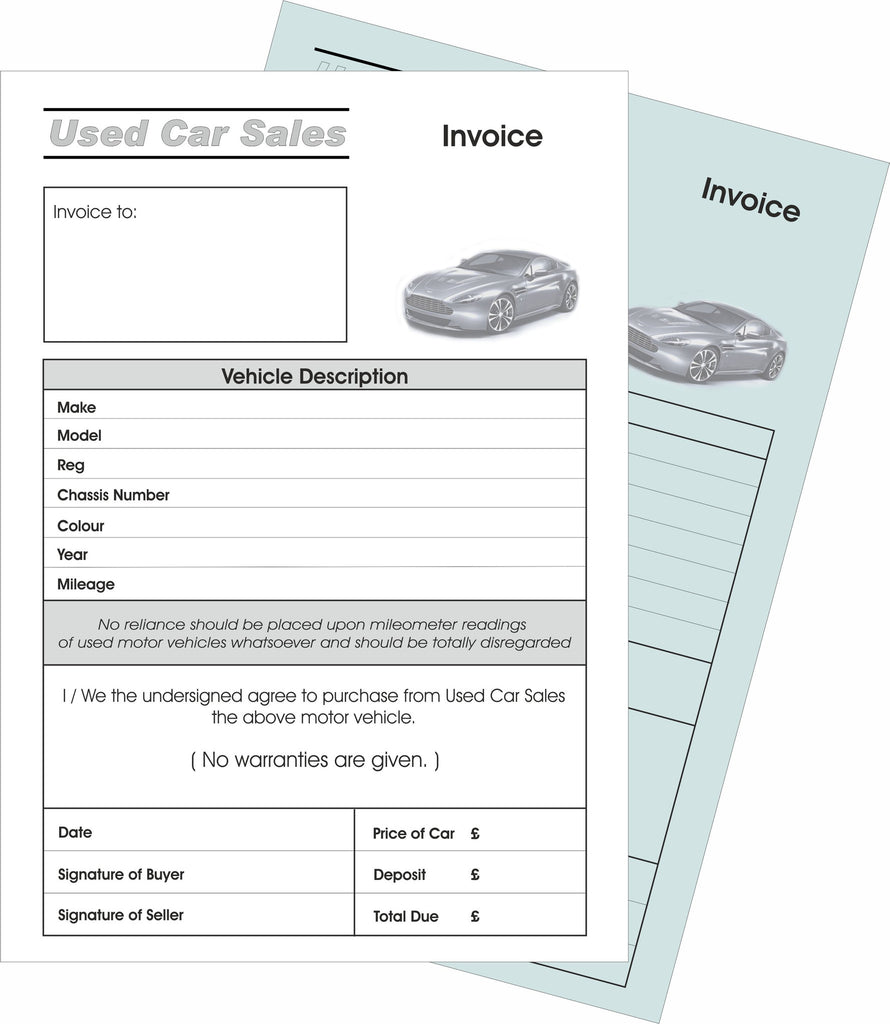 Personalised A Used Car Sales Duplicate Invoice Pads Sets Per - Invoice pads