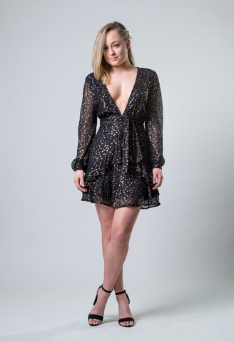 Hello Addie Boho Boutique, Black Star Print Dress, Gold Stars, Long Sleeves, Plunging Neckline