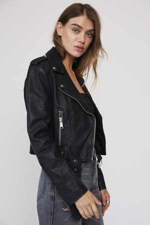 Tracy Cropped Moto Jacket - Hello Addie