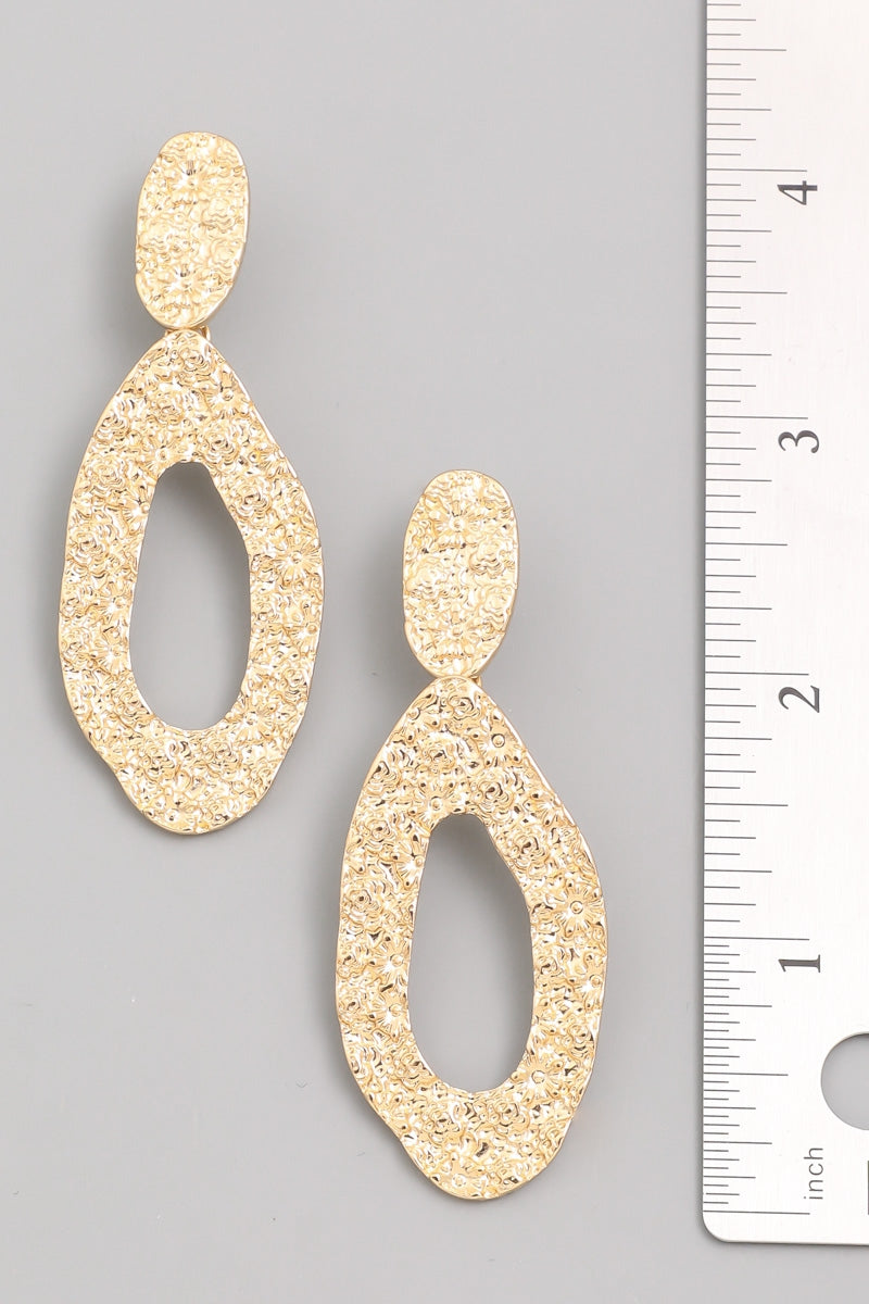 Hammered Oval Drop Earrings - Multiple Colors - Hello Addie