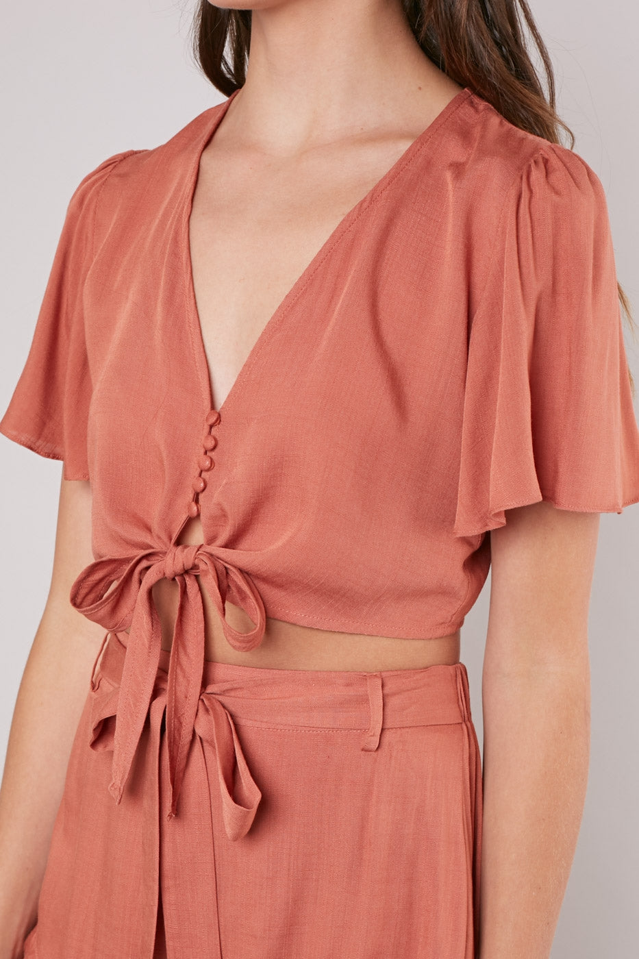 Knot Front Cropped Blouse - Hello Addie