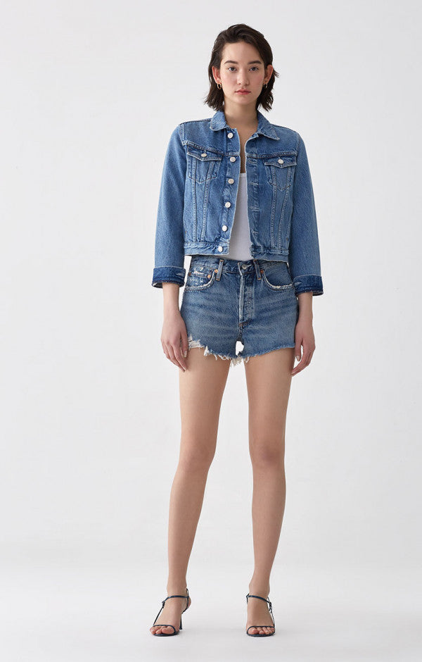Agolde Parker Vintage Cut Off Short in Rock Steady - Hello Addie