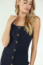 Ribbed Button Down Tank Mini Dress - Multiple Colors - Hello Addie