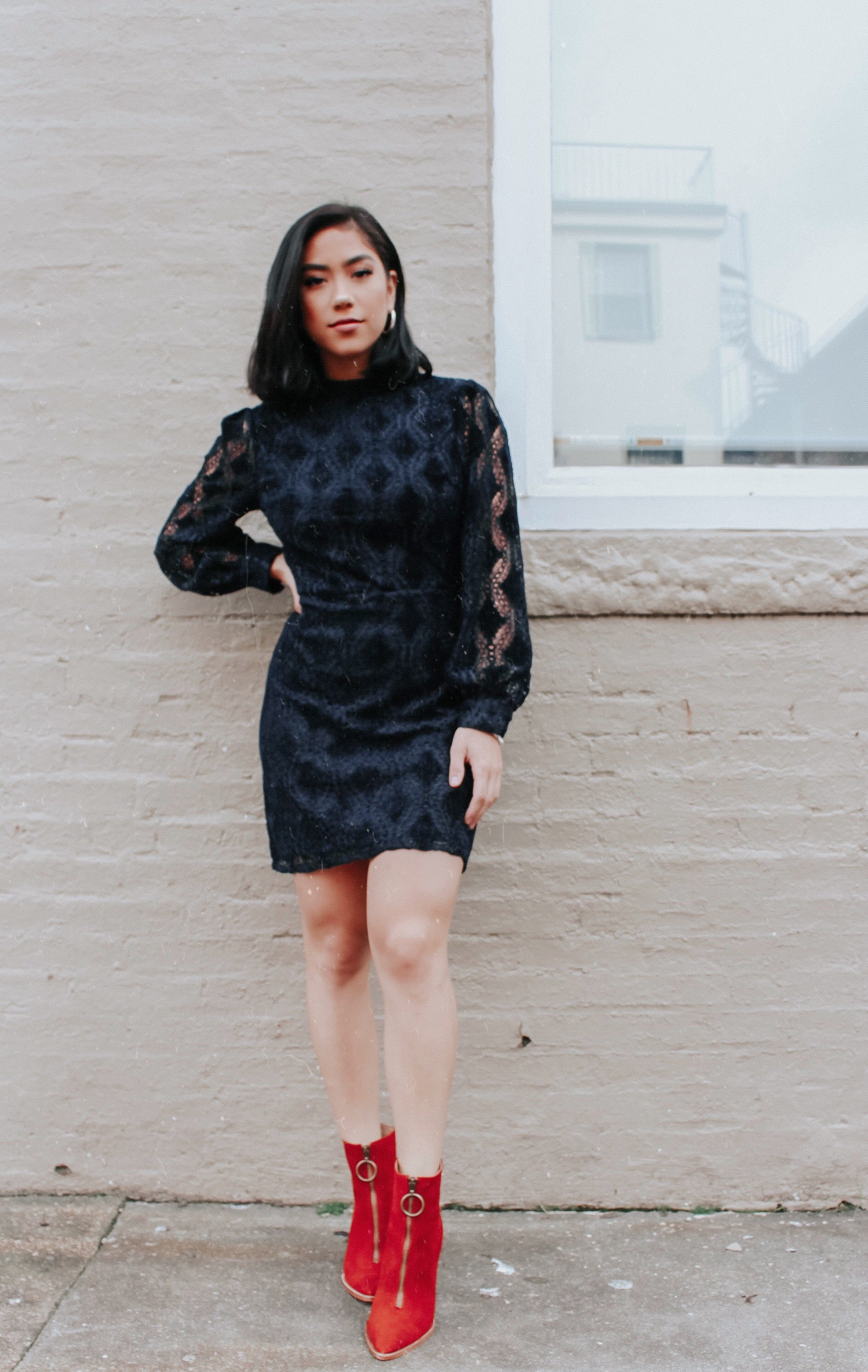 Navy Velvet Mini Dress - Hello Addie
