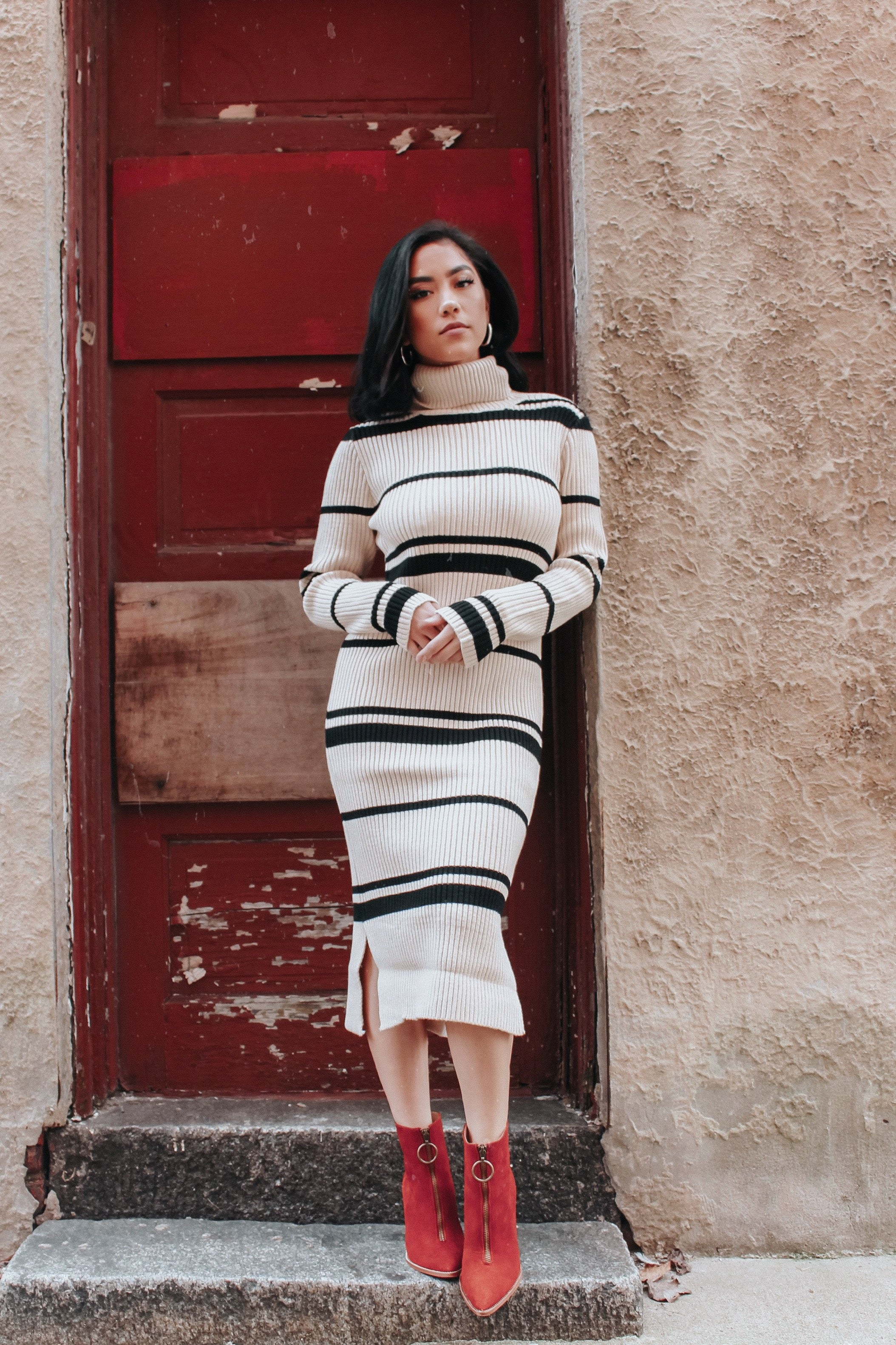Striped Sweater Dress - Hello Addie