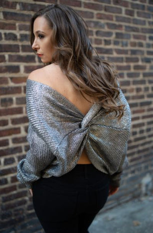 Metallic Knot Sweater