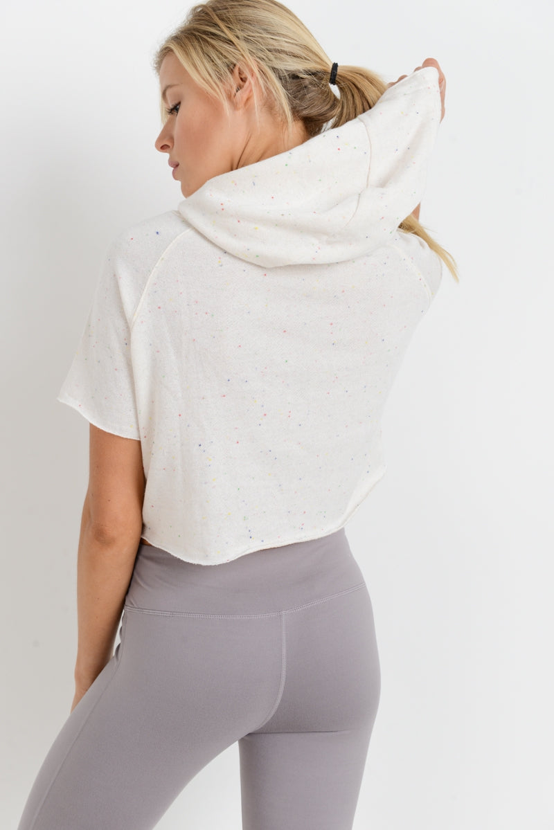 Speckled Cropped Hoodie - Hello Addie