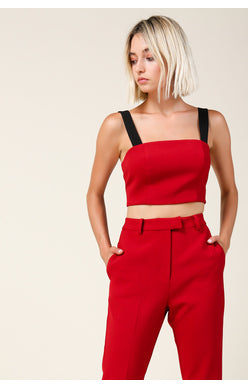 Red Cigarette Pants - Hello Addie