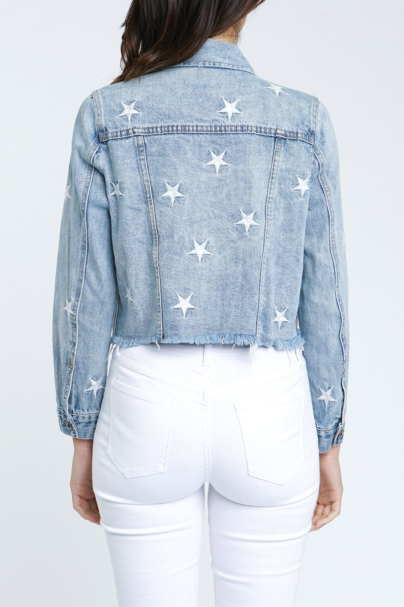 Bando Cropped Denim Jacket - Hello Addie