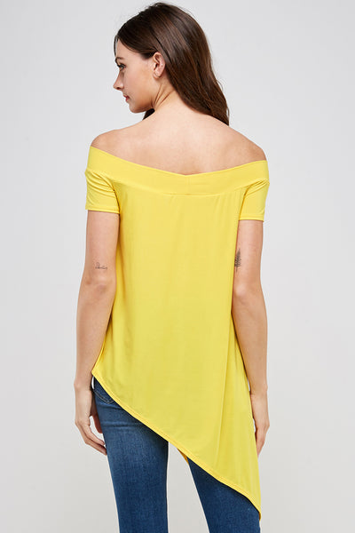 T3069-A1 Off Shoulder Symmetrical Dress Top