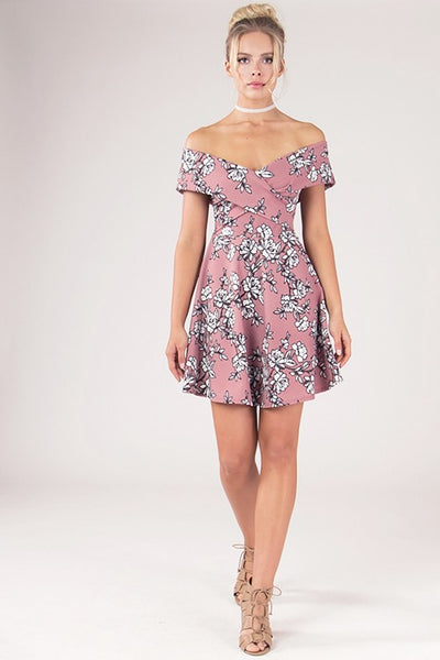 Floral Off The Shoulder Bardot Dress - Blooms in the City