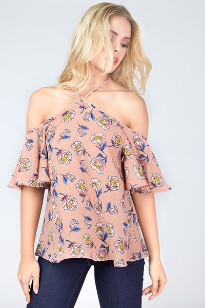 Ruffle Sleeve Floral Top - Blooms in the City