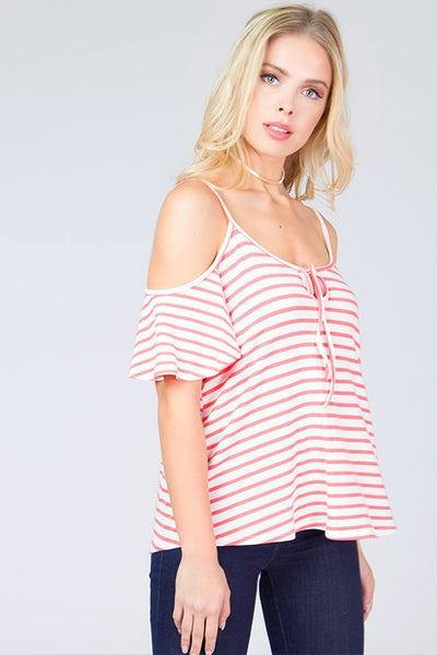 Stripe Ruffle Sleeve Tank - Blooms in the City