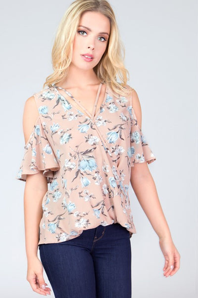 Floral Cold Shoulder V Neck Top - Blooms in the City