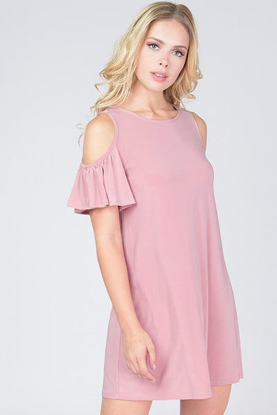 Cold Shoulder Ruffle Sleeve Dress - Blooms in the City