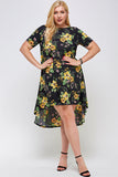 D3056PLUS A41, Classic Chic Plus Size High Low Dress
