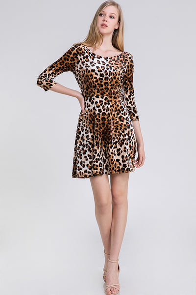 Cheetah Animal Print Velvet Aline Dress - Blooms in the City
