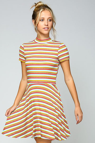 Striped Mock Neck Dress - Blooms in the City