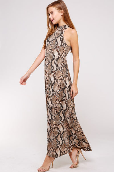 Mock Neck Snake Print Maxi Dress - Blooms in the City