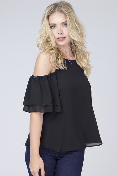 Halter Ruffle Sleeve Top - Blooms in the City