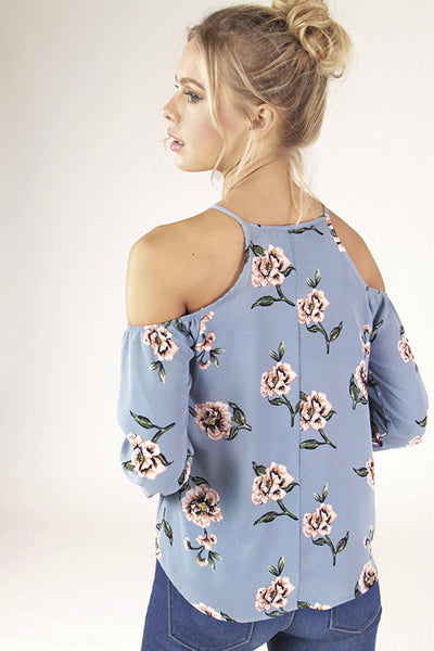 Cold Shoulder Floral Top - Blooms in the City