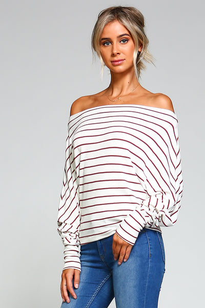 Off The Shoulder Stripe Dolman Sweater - Blooms in the City