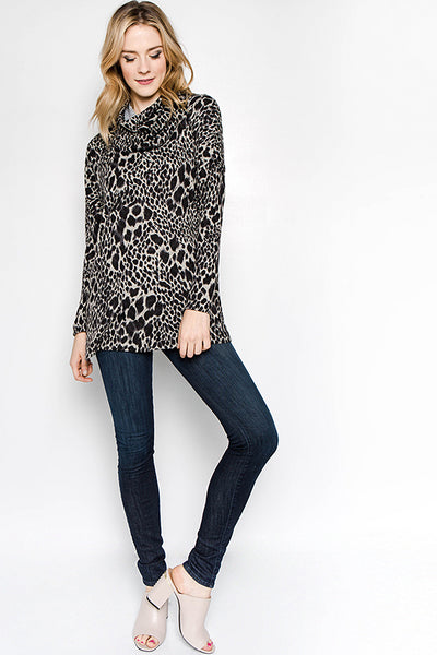 Cowl Turtleneck Sweater - Blooms in the City