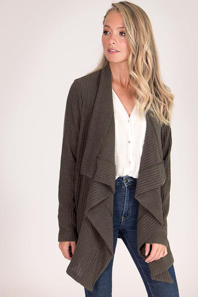 Cascading Front Ribbed Knit Sweater Cardigan - Blooms in the City