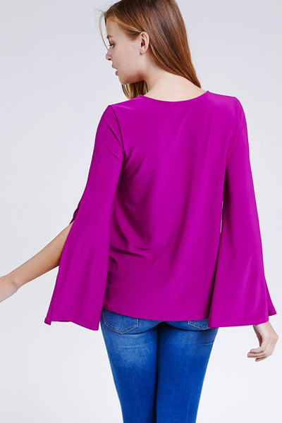 Cut Out Long Slit Flare Sleeve Top - Blooms in the City
