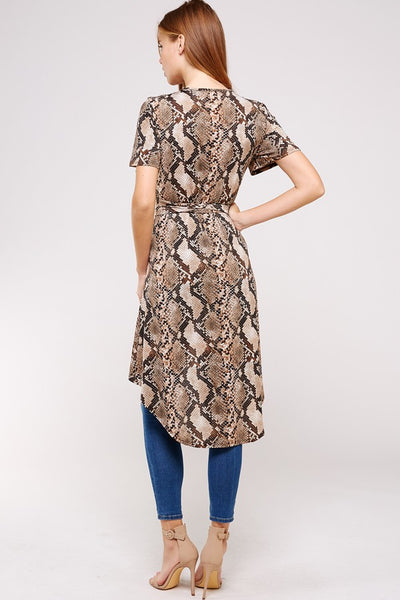 Snake Print Wrap High Low Top - Blooms in the City