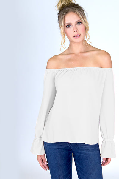 Off Shoulder Bell Sleeve Top - Blooms in the City