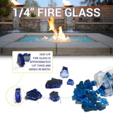 "American Fire Glass - 1/4"" Azuria Reflective 10 lbs - AFF-AZBLRF-10 - Fire Glass - Firetable Store"