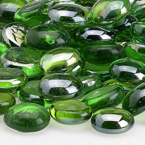 American Fire Glass - Emerald Green Luster Fire Beads 10 lbs - FB-EMELST-10 - Fire Glass - Firetable Store