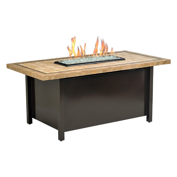 "American Fire Glass - Carmel Rectangle Fire Pit w/ 54"" x 28"" Capistrano Mosaic Top - AFP-CAR-RCTCAP-54 - Gas Fire Pit / Fire Table - Firetable Store"
