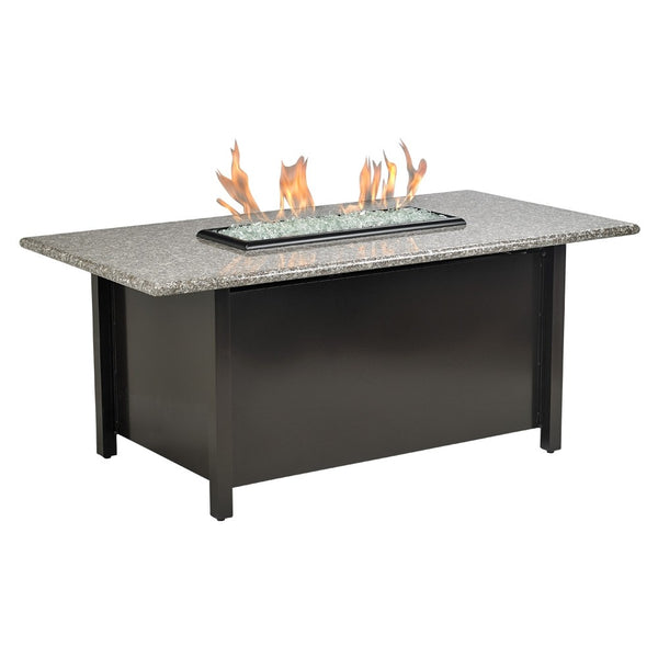 American Fire Glass - Carmel Rectangle Fire Pit w/Pebble Granite Top - AFP-CAR-RCTPEB-54 - Gas Fire Pit / Fire Table - Firetable Store