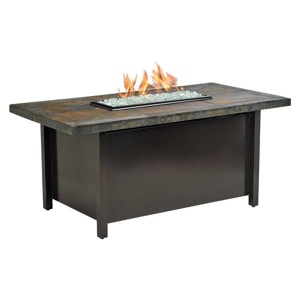 American Fire Glass - Carmel Rectangle Fire Pit w/ Rusty Slate Mosaic Top - AFP-CAR-RCTSLATE-54 - Gas Fire Pit / Fire Table - Firetable Store