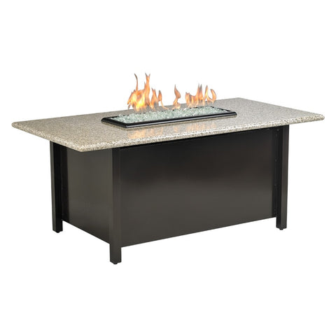 American Fire Glass - Carmel Rectangle Fire Pit w/Sunset Gold Granite Top - AFP-CAR-RCTSUN-54 - Gas Fire Pit / Fire Table - Firetable Store